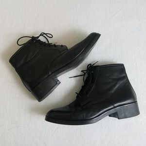 AMALFI Black Leather Hook Lace Up Ankle Boots